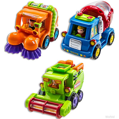 Best Toy Cars for Toddlers WolVol (Set of 3) Push and Go Friction Powered Toy Cars