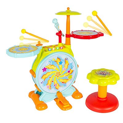 Best Toddler Drum Sets Best Choice Products Kids Electronic Drum Set with Adjustable Sing-Along Microphone and Stool
